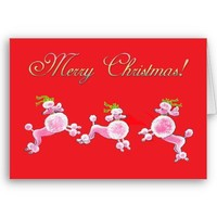 Pink Poodle Retro Merry Christmas Greeting Cards from Zazzle.com