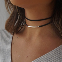 Double Suede Choker, Black Choker Necklace, Dainty Choker Necklace, Black Necklace Dainty, Dainty Silver Satellite Chain, Choker Necklace