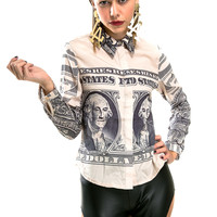 Dollar Bill Button Up Top - LAST ONE