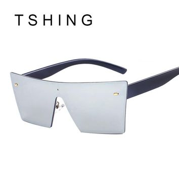 TSHING 2017 New Rimless Sunglasses Fashion Italy Brand Catwalk Men Women Steampunk Goggles Integrated Mirror Sun Glasses UV400