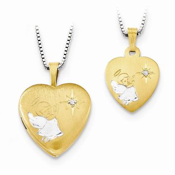 Gold-plated Sterling Silver 16mm Diamond with Angel Locket /12mm Pendant