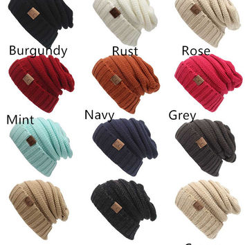 Winter Warm Thick Cable Knit Slouchy Skull Beanie Cap Hat