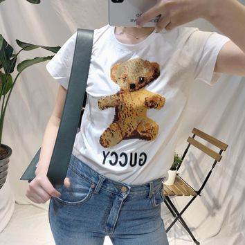"""Gucci"" Women Casual Embroidery Cute Cartoon Bear Cub Letter Short Sleeve T-shirt Top Tee"