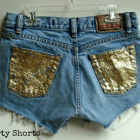 High Waisted Glitter Shorts Custom Made Sparkle Denim Jean Shorts Upcycled Summer Festival Wear