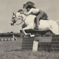 Over a Vintage Wall - 1950s English Equestrienne Jumping Horse Photograph
