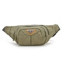 Mens Canvas Waist Pack OutDoor Sports Travelers Fanny Pack