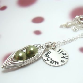 Peas in a Pod Necklace with Personalized Round Disc