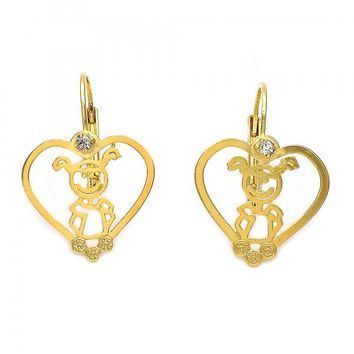 Gold Layered 02.21.0212 Leverback Earring, Heart and Little Girl Design, with White Cubic Zirconia, Polished Finish, Gold Tone