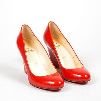 DCCK2 Red Christian Louboutin Patent Leather   Ron Ron Zeppa 80   Wedges