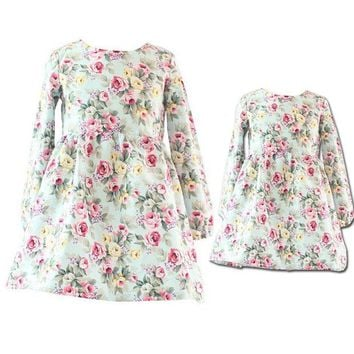 DCCKWQA Spring/Autumn Mother Daughter Dresses Casual Floral Printed Mother and Girls Dresses Family Look Long Sleeve Dresses For Girls