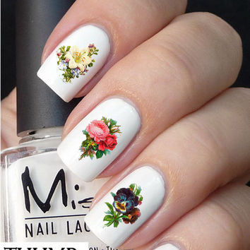 Vintage Flower Nail Decals