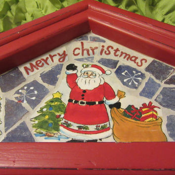 Vintage Wood and Mosaic Hand Painted Merry Christmas Holiday Wall Decor With Hooks - Great Gift Idea