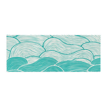 """Pom Graphic Design """"The Calm and Stormy Seas"""" Green Teal Bed Runner"""
