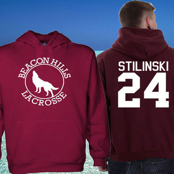 Hoodie Team Beacon Hills Teen Wolf Maroon sweater men and women's