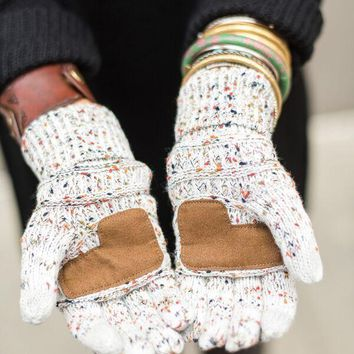 Knitted Texting Gloves - Confetti Ivory