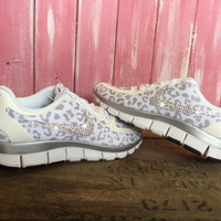 SALE Blinged Nike Free 5.0 V4 Running Shoes Leopard Cheetah White Metallic Silver Customized With Swarovski Crystal Rhinestones Bling Nike