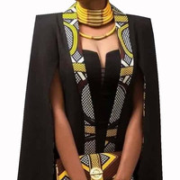 African Traditional Clothing Women Casual Cape Coat African Print Wax Full Sleeve Plus Size Women Clothing African Tops