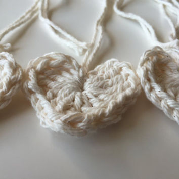 Crochet Hearts Set of 12 - Off White - Applique - Cotton - Embellishments - Handmade - Craft Supplies