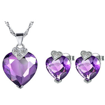 Layla Jewellery 18k White Gold Plated Alloy Swarovski Elements Crystal Jewelry Set include Pendant Necklace and Stud Earrings for Ladies Purple(Love Heart)