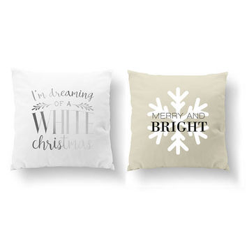 SET of 2 Pillows, White Christmas, Merry And Bright, Cushion Cover, Throw Pillow, Xmas Pillow, Bed Pillow, Gold Pillow, Christmas Pillow