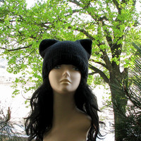 Black Cat Hat, Knit Cat Ear Hat or Cat Beanie, Womens Cat Hat - Hat BLACK  Black Cat - Hand knitted -  Knit Hat Cat -  Hat Cat Beanie