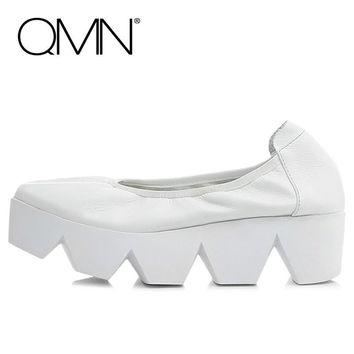 QMN women genuine leather platform flats Women Silp On Casual Shoes Woman Creepers Lea