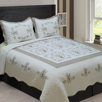 3-Piece High Quality Fully Quilted Embroidery Quilts Bedspread Bed Cover Set  (Beige/Taupe)