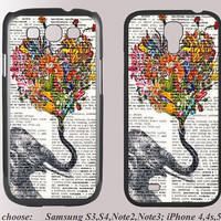 Elephant and the flowers--------samsung cover case galaxy case rubber iphone 5c case for samsung s3/s4/note2/note/3 iphone4/4s/5/5s/5c
