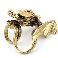 Imixlot Gothic Punk Cool Rhinestone Animal Chinese Dragon Finger Ring