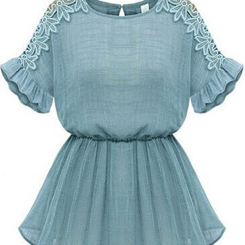 Blue Ruffle Sleeve Mini Dress with Lace Detail