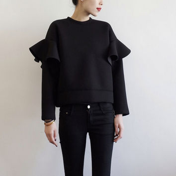 Stretch NEOPRENE SWEATSHIRT with ruffled sleeves - Black - textured fabric Women trending clothes Minimalistic Sweatshirt w/ flared sleeves