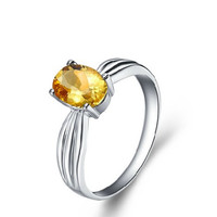 1.1 ct Citrine silver rings