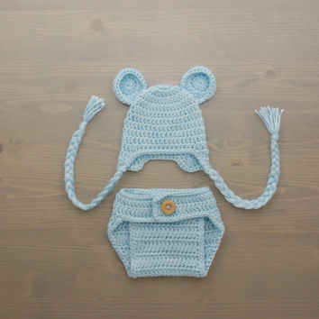 Crochet Bear Baby Costume, Crochet Bear Costume, Newborn Costume, Crochet Costume, Crochet Bear Hat, Newborn Photo Prop, Diaper Cover Set