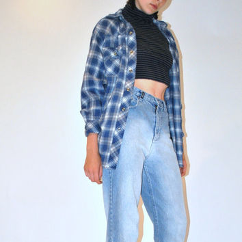 blue plaid flannel shirt / 90s GRUNGE relaxed fit slouchy button down pendleton unisex small flannel top