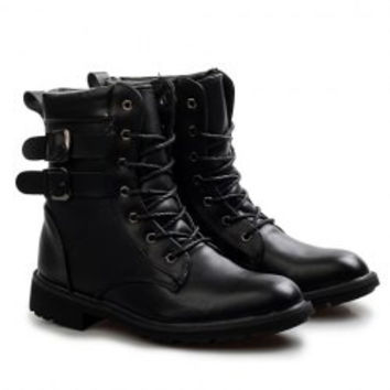 Street Style Men's Flat Boots With Buckles and Lace-Up Design