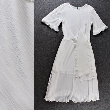 Solid Bell Sleeves Ruched Scalloped Bow Chiffon Dress