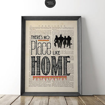 No Place Like Home, Wizard of Oz, Book Page Print, Housewarming Gift, Country Home, Home Sweet Home, Wizard of Oz Quote, Nursery, Unframed
