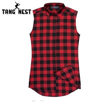 Men's Casual Loose Vest Plaid Casual Sleeveless Shirt Male Cotton Summer Fashion Side Zipper Tank Top