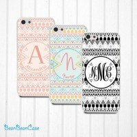 Personalized name initial, aztec tribal pattern case for iPhone, Samsung S5/Note4, Sony, LG Nexus, Nokia Lumia, HTC One M7/M8, Moto(N03)
