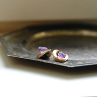 OMBRA stud earrings // Amethyst natural chips, sterling silver, calla lily vintage brass