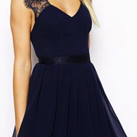 QUEEN B LACE SLEEVE BACKLESS NAVY DRESS