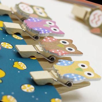 10PCS/lot Kawaii Owl Wooden Clip and Hemp Rope Photo Paper Craft With Bookmarks Office School Supplies