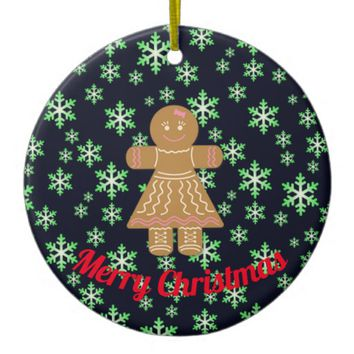 Gingerbread Girl and Green Snowflakes Ceramic Ornament