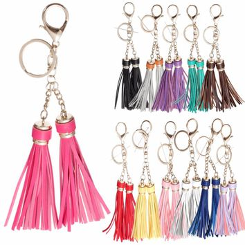 Leather Long Tassel Ornament With 2 Tassels Gold plated For Bag Accessories Parts Charm Pendant New Fringe Pandents