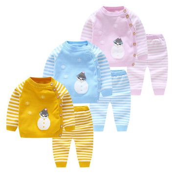 Infant Baby Clothes 2Pcs Lovely Cartoon Tops+Striped Pants Autumn Winter Newborn Sweaters Knitted Baby Boys Girls Clothing Sets