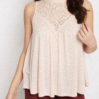 Pale Blue Crochet Yoke Babydoll Tank by Clover + Scout | Going Out Tank Tops | rue21