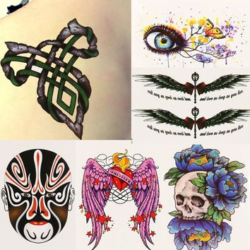 One Temporary Tattoo Stickers Temporary Body Art Waterproof Tattoo Pattern Skulls Wings Tribal Cosplay Costume