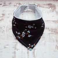 Baby Bandana Bib Scarf in Black and Blue Floral Cotton with Snap Closure for Girl