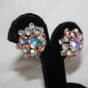Vintage AB Rhinestone Clip On Earrings 1950s Estate Jewelry
