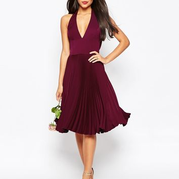 ASOS WEDDING Drape Back Pleated Midi Dress